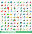 100 payment icons set isometric 3d style vector image vector image