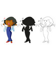 a set characters in color silhouette and vector image vector image