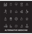 alternative medicine editable line icons vector image vector image
