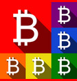 bitcoin sign set of icons with flat vector image vector image