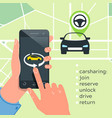 car sharing service concept carsharing renting vector image