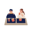 cartoon couple eating fast food at cafeteria vector image vector image