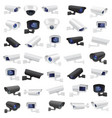 cctv security camera large collection of black vector image vector image