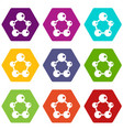 chemical and physical molecules icon set color vector image vector image