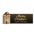 christmas banner with gift box vector image vector image