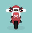 christmas card of santa claus riding motorcycle vector image