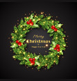 christmas wreath with holly glowing lights vector image vector image