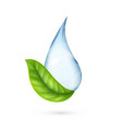 clean water logo realistic water drop with green vector image