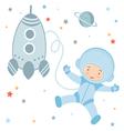 Cosmonaut and rocket vector image vector image