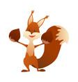 cute cartoon squirrel sweet friendly animal vector image vector image