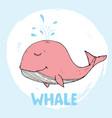cute whale cartoon hand drawn animal doodles vector image