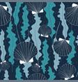 dark seamless pattern with seashells and seaweeds vector image vector image