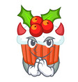 devil decorated christmas cupcakes cartoon for vector image