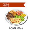 doner kebab with fresh vegetables tender cheese vector image