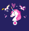 ector cartoon set unicorns and fabulous objects vector image