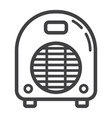 electric fan heater line icon household appliance vector image vector image