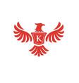 elegant phoenix with letter k logo vector image vector image