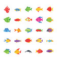 fishes flat icons vector image vector image
