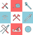 Flat line icons set of handtools vector image