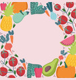 food seamless pattern round border fresh vector image vector image