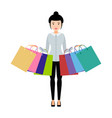 girl with shopping bags in both hands vector image