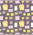 hand drawn seamless pattern with box and confetti vector image vector image