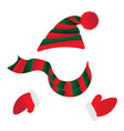 hat with pompom striped scarf gauntlets with fur vector image vector image