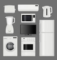 home appliances realistic modern stainless steel vector image