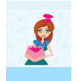 Housewife serving cake vector image vector image