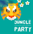 jungle patry design template with tiger face vector image vector image