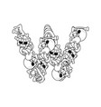 letter w skeleton bones font anatomy of an vector image vector image