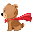 light brown bear sitting with a red cape on white vector image