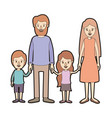 light color caricature thick contour family with vector image vector image