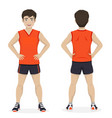 man playing sport with orange and black sportswear vector image