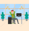 man watching in monitor smiling employee vector image