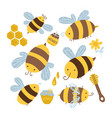 many characters cute yellow and black bees set vector image vector image