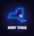 neon map state new york on a brick wall vector image vector image