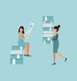 online book library character woman on sitting vector image vector image