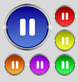 pause icon sign Round symbol on bright colourful vector image vector image