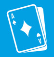 playing card icon white vector image vector image