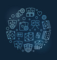 poker blue round outline concept vector image vector image
