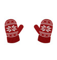 red knitted gloves vector image