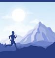 running man in wild nature vector image