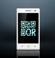 scanning qr code on the screen of your smartphone vector image