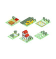set farm icons in modern 3d style vector image vector image