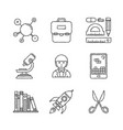 set of education icons in sketch style vector image