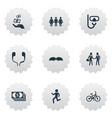 set simple fashion icons elements walking vector image