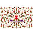 set yogi woman in asana pose vector image vector image
