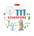 singapore travel attraction label vector image vector image