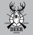 sports monochrome badge on hunting with deer vector image vector image